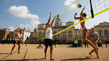 Horse Guards Parade - Players practice beach volleyball at Horse Guards Parade