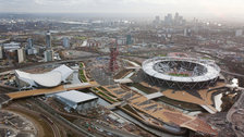 London Olympic Park - Aerial view over the Olympic Park