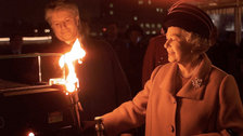 The Queen's Diamond Jubilee Beacons - The Queen lights the Millennium Beacon with Bruno Peek, 1999