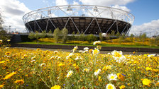 Olympic Test Events - The Olympic Stadium surrounded by spring flowers