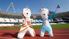 Olympic Mascots: Wenlock and Mandeville - London 2012 mascots Wenlock and Mandeville in the Olympic Stadium
