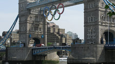 Picture: Potters Fields - Olympic rings under Tower Bridge, seen from Potters Fields Park