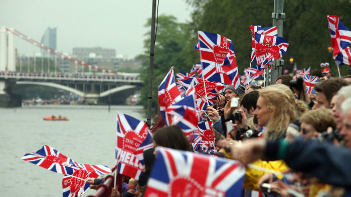 Thames Diamond Jubilee Pageant - Flags on the banks of the river