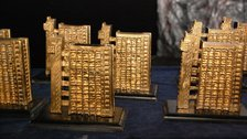 September in London 2015 - Golden Trellick awards modelled Trellick Tower by street artist Zeus