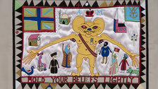 20/21 British Art Fair - Grayson Perry, 'Hold your Beliefs Lightly', tapestry embroidery, 2011