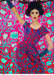 Liberty In Fashion - Art Nouveau fashion using 'Constantia', 1961 by Liberty London