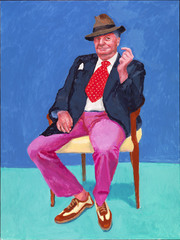 David Hockney RA: 79 Portraits and 2 Still Lifes -  Barry Humphries, March 2015 by Richard Schmidt