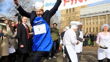 Pancake Day Races in London - Lord Redesdale, House of Lords team, 2014 Rehab Parliamentary Pancake Race