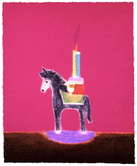 The London Original Print Fair - Craigie Aitchison RA Donkey Candlestick, 2002. Courtesy Advanced Graphics, London