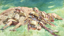 Sargent: The Watercolours - John Singer Sargent Highlanders Resting at the Front (c)Fitzwilliam Museum Cambridge