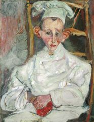 Soutine's Portraits: Cooks, Waiters And Bellboys - Pastry Cook of Cagnes (Le patissier de Cagnes), 1922, Chaim Soutine, (c) Courtauld Gallery, Museum of Avant-Garde Mastery of Europe (MAGMA of Europe)