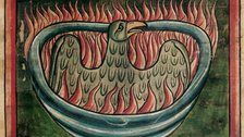 Harry Potter: A History of Magic - A phoenix rising from the ashes in a 13th-century bestiary (c) British Library