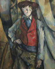 Cezanne Portraits - FULL IMAGE ACTUAL CAPTION Boy in a Red Waistcoat, 1888-90 Paul Cézanne (c)National Gallery of Art, Washington.