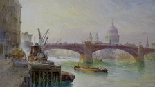 Works on Paper Fair - Richard Henry Wright (1857 - 1930), St Paul's from the River. Watercolour. 17.15 x 22.85 cm cms £1,450. To be exhibited at Works on Paper Fair, 2018, by Newman Fine Art