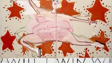 Rose Wylie - Rose Wylie, Pink Skater, (Will I Win, Will I Win), 2015, Oil on canvas, 208 x 329 cm, Courtesy the artist, Photo: Soonhak Kwon