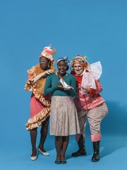 Cinderella - Aisha Jawando as Cinderella, and Kat B and Tony Whittle as the Ugly Sisters. Photographer: Perou