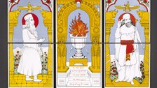Living with gods: peoples, places and worlds beyond - Zoroastian tiles set of six tiles used in a domestic Parsi shrine 1989 90 India