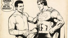 DC Exhibition: Dawn of Super Heroes - All-New Collectors' Edition #C-56 - Superman Vs. Muhammad Ali 1978 pgs 72-Inside back cover. Neal Adams artist Dick Giordano inker © & TM DC. (s18)