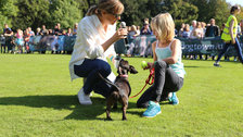 Chiswick House Dog Show - Mel Giedroyc judging Best Young Handler