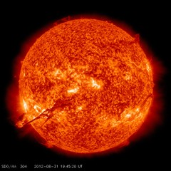 The Sun: Living With Our Star - Coronal mass ejection from the Sun by image courtesy of NASASDO and the AIA, EVE and HMI science teams